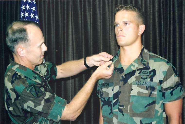 A much younger me getting promoted