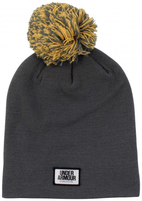 Under Armour Graphic Pom Women's Beanie - Rhino Grey / Orange Peel