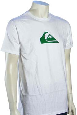Quiksilver White Wave T-Shirt - White / Green