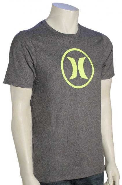 Hurley Circle Icon Dri-Fit T-Shirt - Heather Graphite / Neon Yellow