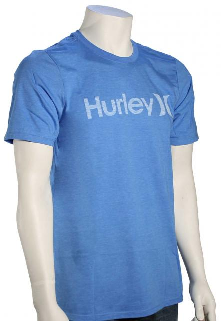 Hurley One and Only Push Through T-Shirt - Light Photo Blue Heather / White