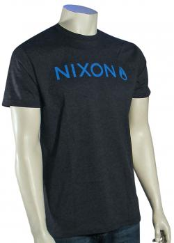 Nixon Basis T-Shirt - Dark Grey / Cyan