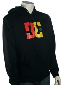 DC Star Zip Fleece Hoody - Black / Rasta