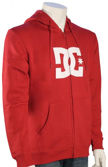 DC Star Zip Fleece Hoody - Rio Red / White