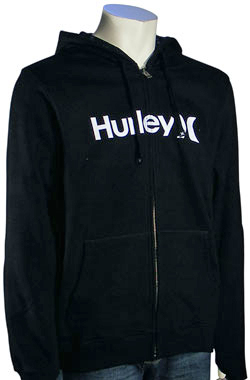 Hurley One and Only Zip Fleece Hoody - Black / White