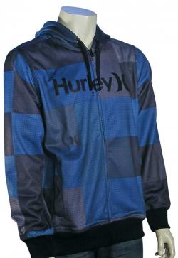 Hurley Multi Stripe Zip Fleece Hoody - Cyan
