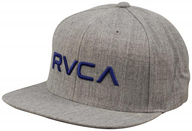 RVCA Twill Snapback Hat - Grey Heather / Royal