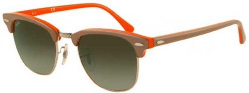 Ray-Ban Clubmaster Sunglasses - Beige / Orange / Crystal Green