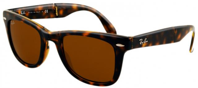Ray-Ban Folding Wayfarer Sunglasses - Demi Brown / B-15 XLT