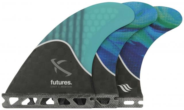 Futures Lost Medium Surfboard Fin Set - Teal Swirl