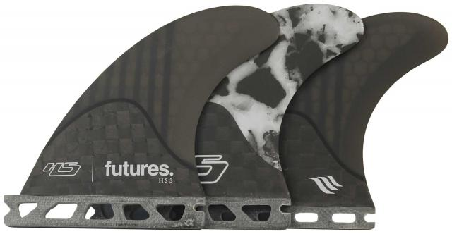 Futures HS3 Surfboard Fin Set - Black / White Marble - Extra Small