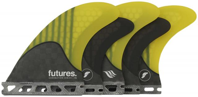 Futures F4 Surfboard Five-Fin Set - Yellow