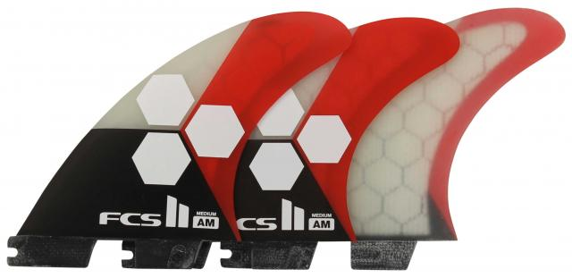 FCS II AM Performance Core Tri Fin Set - Black / White / Red - Medium
