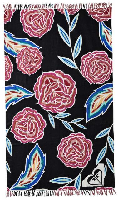 Roxy Sunset Time Beach Towel - Anthracite Mexican Roses