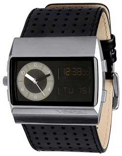 Vestal Monte Carlo Leather Watch - Black / Silver / Black