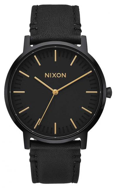 Nixon Porter Leather Watch - All Black / Gold