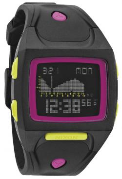 Nixon Small Lodown Tide Watch - All Black / Neon Pop