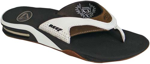 Reef Leather Fanning Sandal - White / Brown