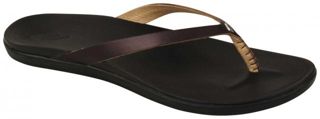 OluKai Ho'opio Leather Women's Sandal - Onyx / Black