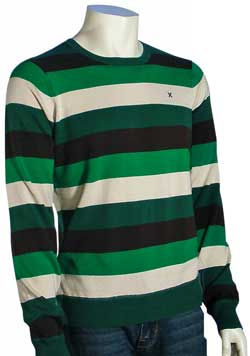 Hurley One and Only Stripe Sweater - Green / Dark Green