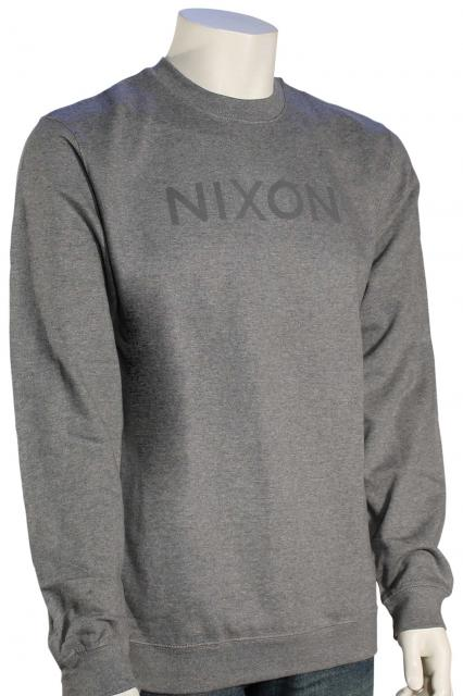 Nixon Wordmark Crew Sweater - Dark Grey Heather