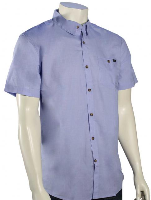 Rusty Sonar SS Button Down Shirt - Poolside