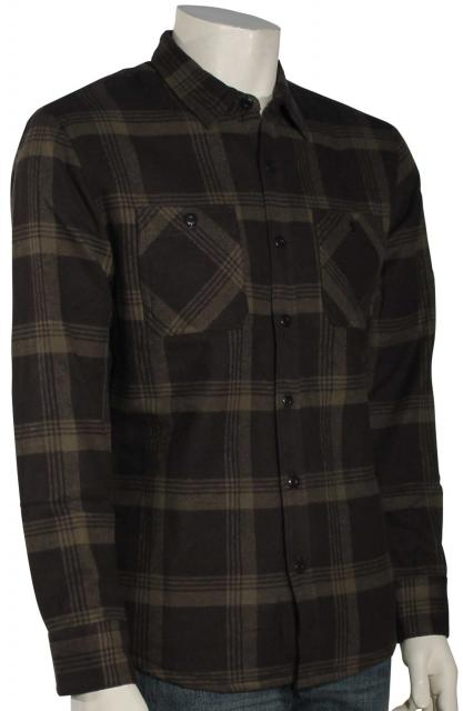 Quiksilver Metal Layer LS Button Down Flannel Shirt - Tarmac