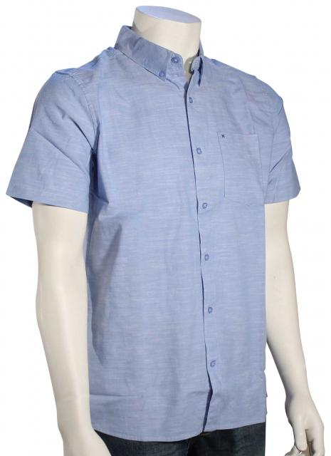 Hurley One and Only SS Button Down Shirt - Blue Ox