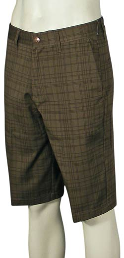 Volcom Frickin' Plaid Chino Walk Shorts - Chocolate Plaid