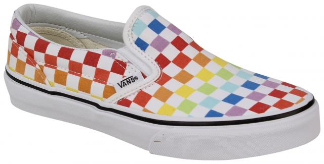 Vans Kid's Classic Slip On Shoe - Checkerboard Rainbow / True White