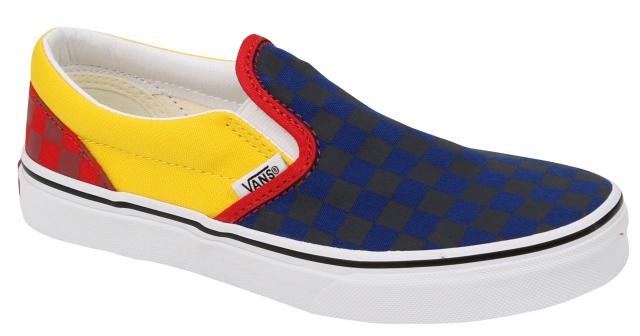 Vans Kid's Classic Slip On Shoe - Navy / Yellow / Red