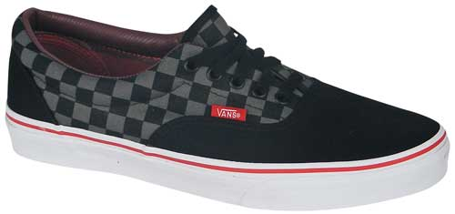 Vans Era Checkerboard Shoe - Black / Pewter / Chili Pepper Red