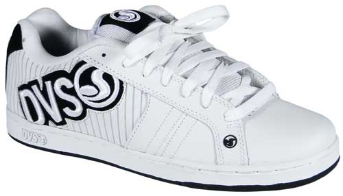DVS Accomplice Shoe - White Leather Pinstripe