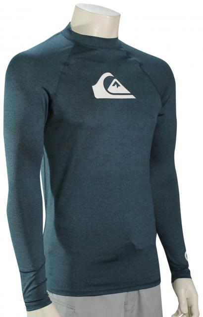 X-Large Quiksilver Mens All TIME LS Long Sleeve Rashguard SURF Shirt Majolica Blue Heather