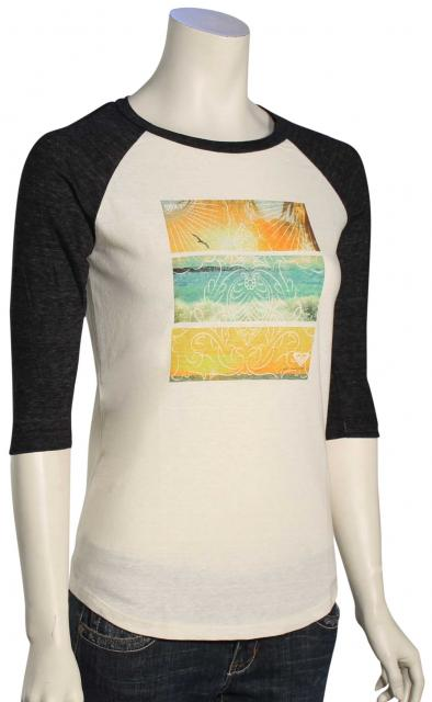 Roxy Sun Kisser Baseball Raglan Women's T-Shirt - Pirate Black