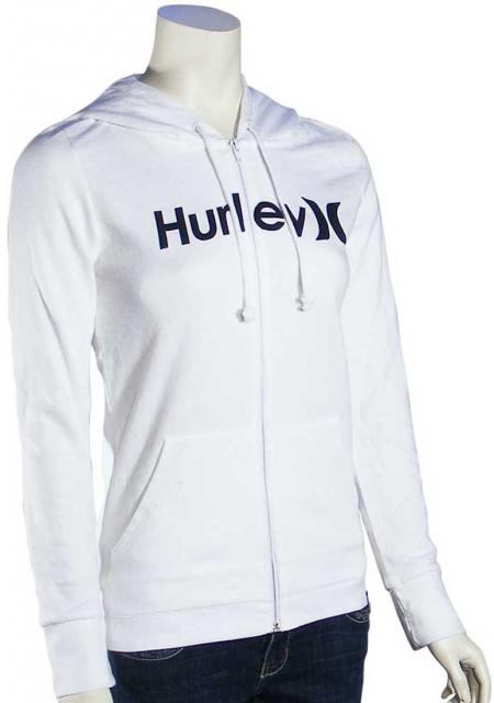 Hurley One and Only Icon Women's Zip Hoody - White / Black
