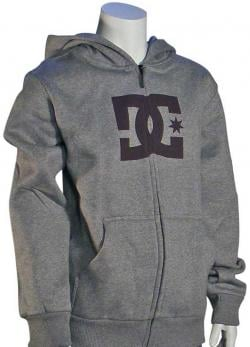 DC Boy's Star Zip Fleece Hoody - Heather Grey