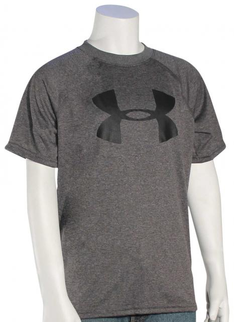 Under Armour Boy's Tech Big Logo T-Shirt - Carbon Heather / Black