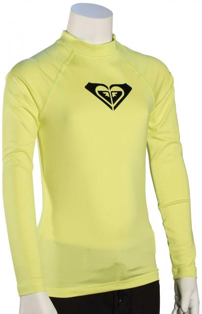 Roxy Girl's Whole Hearted LS Rash Guard - Limeade
