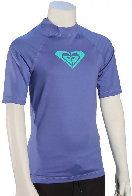 Roxy Girl's Whole Hearted SS Rash Guard - Chambray