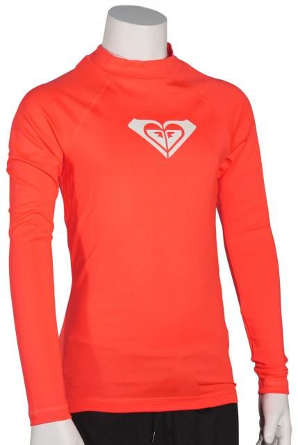 Roxy Girl's Whole Hearted LS Rash Guard - Neon Grapefruit