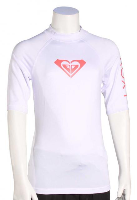 Roxy Girl's Whole Hearted SS Rash Guard - White / Pink