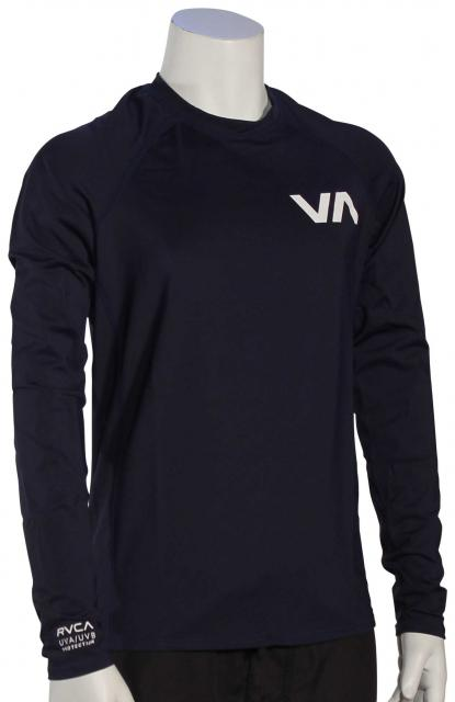 RVCA Boy's Solid LS Rash Guard - Navy