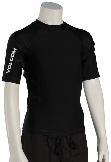 Volcom Boy's Lido Solid SS Rash Guard - Black