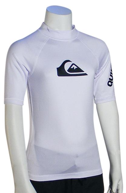 Quiksilver Boy's All Time SS Rash Guard - White