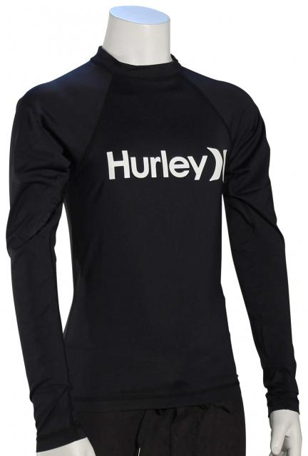 Hurley Boy's One & Only LS Rash Guard - Black / White