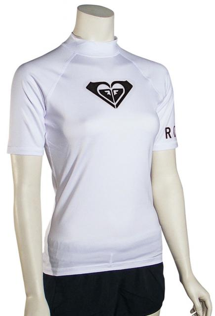 Roxy Whole Hearted SS Rash Guard - White / Black