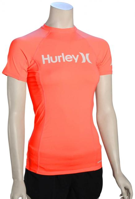 Hurley Women's One & Only SS Rash Guard - Bright Mango