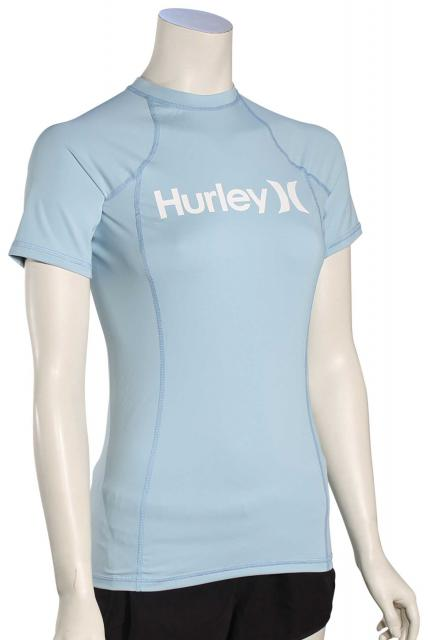 Hurley Women's One & Only SS Rash Guard - Ocean Bliss