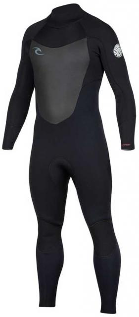 Rip Curl Men's Dawn Patrol 4/3mm Back Zip Full Wetsuit - Black